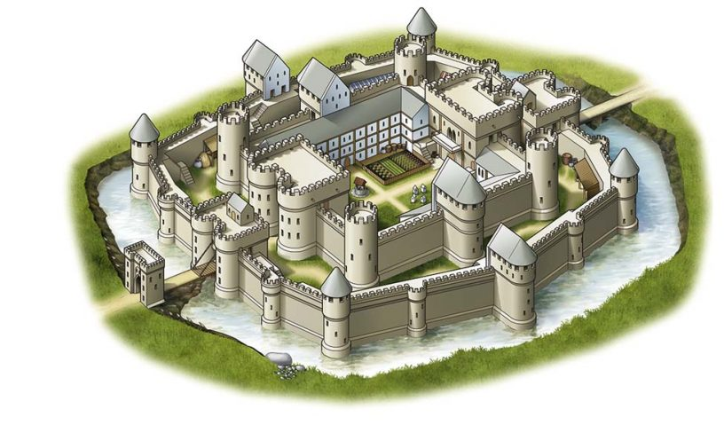 Construction of a Castle in the middle Ages